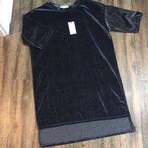 Navy blue velour/velvet feel dress or tunic